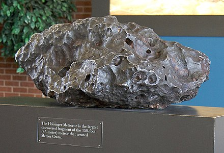 The Holsinger meteorite, the largest piece of the Canyon Diablo meteorite. Uranium-lead dating and lead-lead dating on this meteorite allowed refinement of the age of the Earth to 4.55 billion +- 70 million years. Holsinger Meteorite.jpg