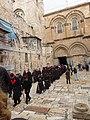 Holy Land 2019 (1) P096 Jerusalem Holy Sepulchre parvis Franciscan procession.jpg