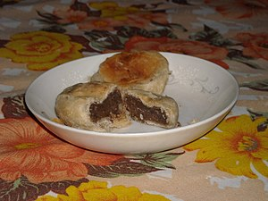 Bakpia - A pair of mung-bean hopias in a saucer