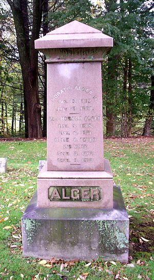 Horatio Alger - Alger's gravestone at Natick, Massachusetts
