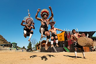 Nagas of Nagaland rehearsing their traditional dance during the Hornbill Festival Hornbill Festival, Pix by Vikramjit Kakati.jpg
