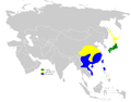 Horornis diphone distribution map.png