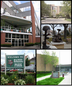 Pictured left to right: The Hazel Park Racetrack, the Hazelcrest Apartments, the Monument to the Fallen Heroes at city hall, Hazel Park Welcome Sign in Downtown and Hazel Park High School.