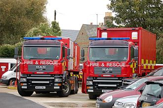 Cambridgeshire Fire and Rescue Service - 2 urban search and rescue (USAR) MAN prime movers at huntingdon fire station