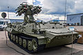 I34 combat vehicle with Strelets launching module from Luchnik-E AA system at Engineering Technologies 2012 01.jpg