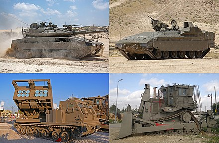 IDF's current (2017) armored fighting vehicles, clockwise: IDF Namer, IDF Caterpillar D9, M270 MLRS and Merkava Mk 4M IDF-Ground-Forces-AFVs-01.jpg