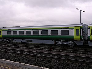 Iarnród Éireann - A Mark 4 carriage on the Dublin–Cork railway line