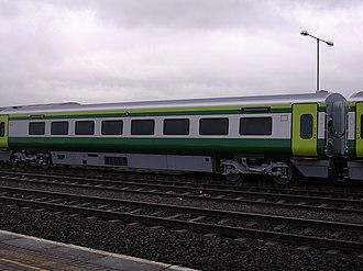 Iarnród Éireann - A Mark 4 carriage on the Dublin–Cork railway line