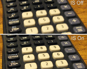 Image stabilization - A comparison of close-up photographs of a keypad with and without optical image stabilization