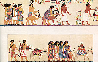 Hyksos - An earlier group of Asiatic peoples depicted entering Egypt c. 1900 BC, from the tomb of a Twelfth Dynasty official Khnumhotep II under pharaoh Senusret II at Beni Hasan.