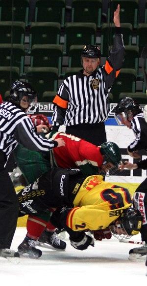 Fighting in ice hockey - A fight during a junior league ice hockey game between Frölunda HC and VIK Västerås HK