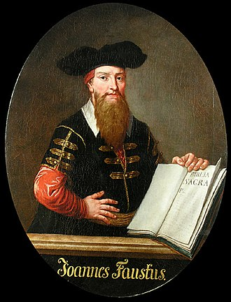 Johann Fust - Often taken to be a portrait of Doctor Faustus, this is an idealised portrait of Johann Fust with his printed Bible.