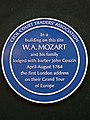 In a building on this site W. A. Mozart and his family lodged with barber John Couzin April-August 1764.jpg