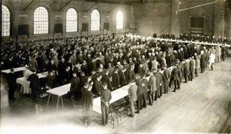 Kenneth C.M. Sills - Inaugural luncheon for President Kenneth Sills in Sargent Gymnasium, Bowdoin College, Brunswick, Maine, 1918