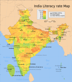 Map showing the literacy rate of each district...