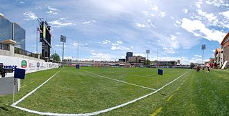 Glendale, Colorado - Inside the rugby stadium at Infinity Park.