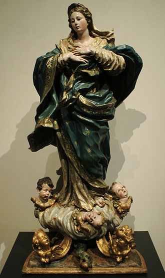 Feast of the Immaculate Conception - The belief is solemnly celebrated in many countries and has inspired much sacred artwork. The Immaculate Conception, by Pedro de Sierra, (circa 1735) Valladolid, Spain.