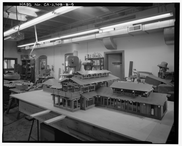 File:Interior workshop (J) detail view, facing northeast. - Sam and Alfreda Maloof Compound, Wood Shop and Display Building, 9553 Highland Avenue, Rancho Cucamonga, San Bernardino HABS CAL,36-RANCU,3B-5.tif