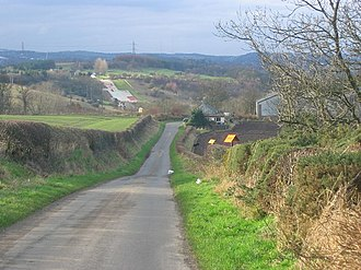 Inveravon - Inveravon - towards Polmont Ski Slope. The road follows the line of the Antonine Wall