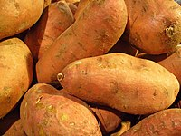 Close-up view of a pile of golden sweet potato roots