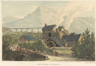 Carmarthenshire - Etching of ironworks near Llanelli by John George Wood, 1811