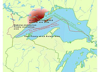Treaty of La Pointe - Map showing the 1844 Webster-Ashburton Treaty area of what now is Minnesota, the 1842 Treaty of La Pointe area, and their overlap over Isle Royale, which precipitated the need for the Isle Royale Agreement.