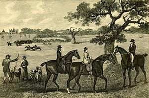 Hare coursing - Coursing at Hatfield, an engraving by John Francis Sartorius, depicts Emily Cecil, Marchioness of Salisbury riding side-saddle