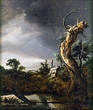 Landscape with dead tree and an oncoming storm