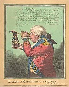 Ein spannungshoher Napoleon steht auf der ausgestreckten Hand eines großen George III., Der ihn durch ein Spionageglas ansieht.