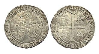 John IV, Duke of Brabant - Double groat, struck in Maastricht under the reign of John IV, Duke of Brabant and Limburg (1415–1427)