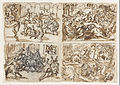 Jan van der Straet, called Stradanus - Recto Title- Page from a sketchbook showing four scenes- including Thessalians Fighting Bulls, upper... - Google Art Project.jpg