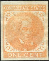 Faded stamp image of Calhoun, saying 'Confederate states One Cent'.