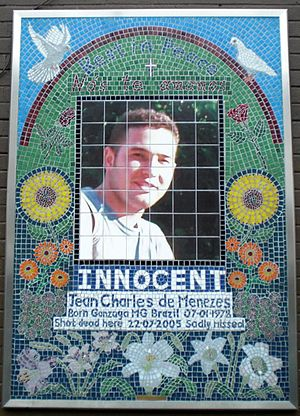 Stockwell tube station - The mosaic of Jean Charles de Menezes outside Stockwell station