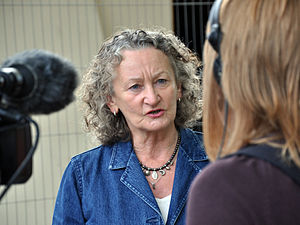 Jenny Jones, Baroness Jones of Moulsecoomb - Jenny Jones being interviewed  in Norwich in 2010