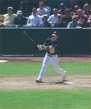 Jack Hannahan -  Hannahan batting Oakland Athletics in 2008