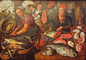 Cod - Sixteenth-century Flemish fishmonger displaying cod, by Joachim Beuckelaer