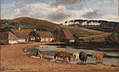 Johan Thomas Lundbye - Cows being Watered at a Village Pond. Brofelde, Zealand - KMS3370 - Statens Museum for Kunst.jpg