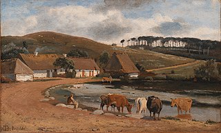 Cows being Watered at a Village Pond. Brofelde, Zealand