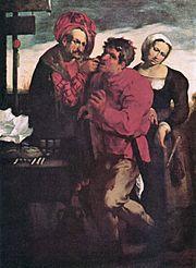 Farmer at the dentist, Johann Liss, c. 1616-17.