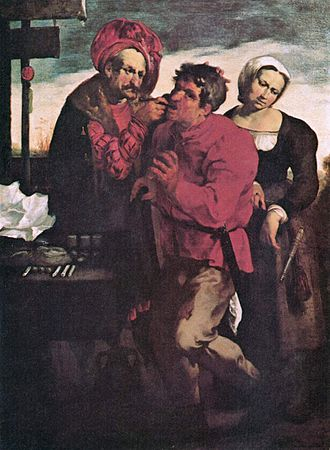 Street dentistry - A depiction of an early 17th-century dentist practicing outdoors by Johann Liss.