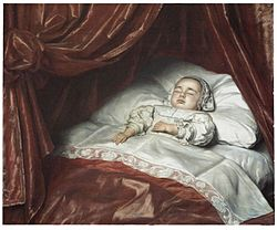 Johannes Thopas: Doodsbedportret van een kind, waarschijnlijk Catharina Margaretha van Valkenburg (1680-1682)