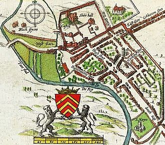 Cardiff city centre - John Speed's 1610 map of Cardiff