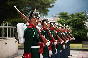José María Córdova Military School - The school's Honor Guard which is in charge of honoring and presenting arms to the President of the Republic or to high ranking officers, as well as to the Commander-in-Chief of the Military Forces.