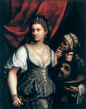Fede Galizia - Judith with the Head of Holofernes (1596). The figure of Judith is believed to be a self-portrait.