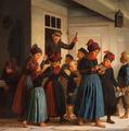 Julius Exner - Børn uden for Postkontoret efter Postens ankomst - 1881.png
