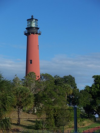 Jupiter Inlet Light - Lighthouse visible above the trees