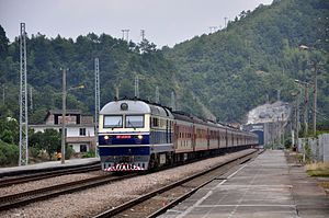 Beijing–Kowloon Railway - Beijing–Kowloon Railway at the Shangling Station in Heping County, Guangdong province.