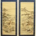 Kano Kazunobu -Pair of hanging scrolls, paintings. Group of horses by river stream. Ink and colours on silk, 1856-62, British Museum.jpg