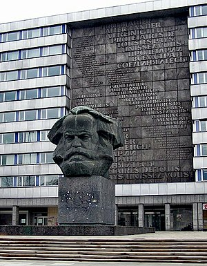 History of East Germany - GDR era Karl Marx monument in Chemnitz (renamed Karl-Marx-Stadt from 1953 to 1990).