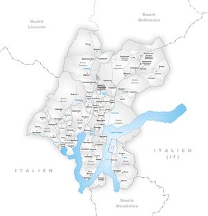Ponte Capriasca - Image: Karte Gemeinde Ponte Capriasca